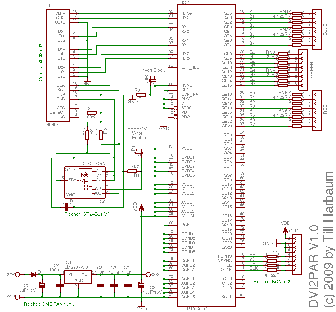 Hdmi Dvi Schematic Diagrams Reinvent Your Wiring Diagram For Plug Dvi2par A Video Decoder The Beagleboard Rh Harbaum Org